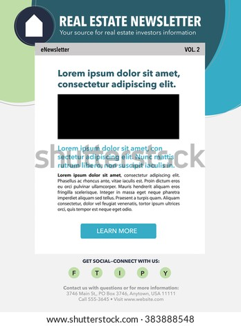 Email Marketing Newsletter Template Real Estate Stock Vector ...