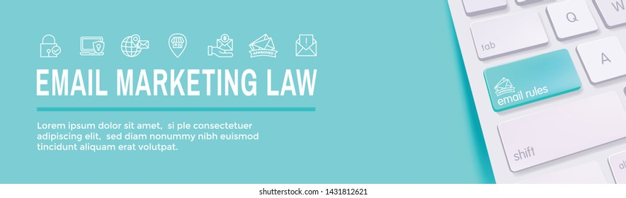 Email Marketing Rules and Regulations Icon Set and Web Header Banner