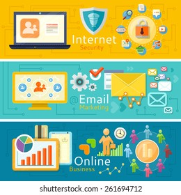 Email marketing and sales. Team development of the company and earning money. Online business. Illustration of computer internet security. Web images antivirus. Concepts in flat design