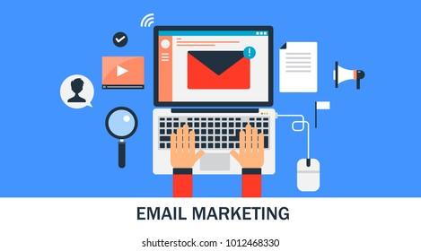 Email marketing, Sending email, Digital marketing management flat vector illustration isolated on blue background