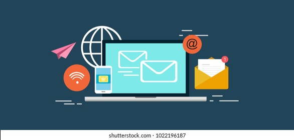 Email Marketing Services, communication multi platform with email, from mobile, laptop via internet connection. flat vector illustration.