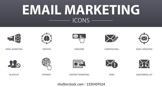 Email Marketing simple concept icons set. Contains such icons as subscribe, compose mail, Blacklist, internet and more, can be used for web, logo, UI/UX