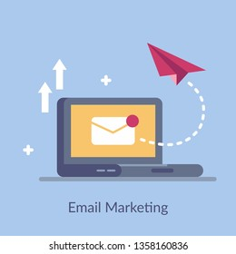 Email marketing simple flat vector. A way to promote a product or service. For use in web design, mobile applications, presentations and motion graphics