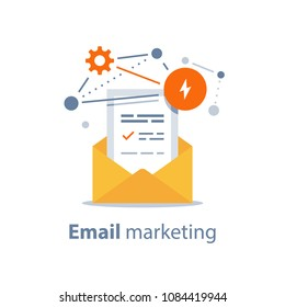 Email marketing strategy, newsletter concept, opened envelope, writing letter, news summary, fishing email, cyber crime, spam attack protection, fraud technology, vector icon, flat illustration