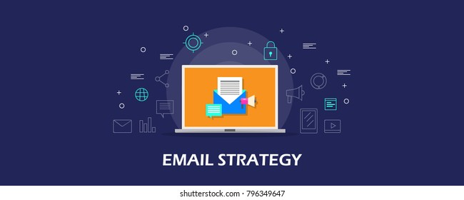 Email marketing strategy, Newsletter subscription, Drip marketing flat design concept