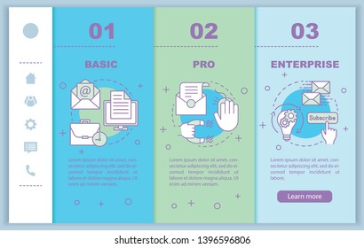 Email marketing subscription onboarding mobile web pages vector template. PRO tariff. Responsive smartphone website interface idea, linear illustration. Webpage walkthrough step screens. Color concept