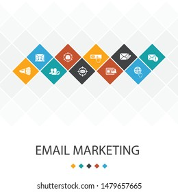 Email Marketing trendy UI template infographics concept.subscribe, compose mail, Blacklist, internet icons