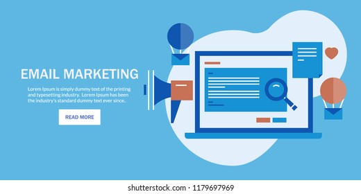 Email marketing, writing email content, newsletter advertising flat design vector banner with icons and texts