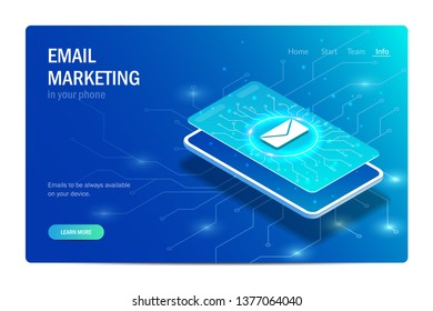 Email marketing in your phone. Concept. Letter icon on the smartphone screen. Editable vector isometric illustration in hi tech style.