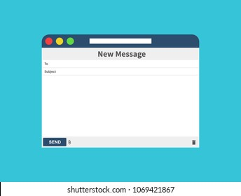 Email message Blank window of E-mail, template. E-mail blank template internet mail frame interface for mail message. User interface web panel send. Vector illustration
