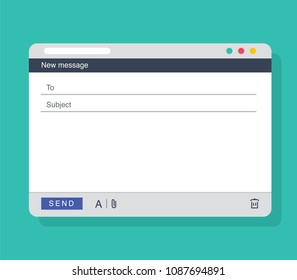 Email message Blank window template. E-mail blank template internet mail frame interface for message. User interface web panel send. Vector illustration. Business communication. Contact form interface