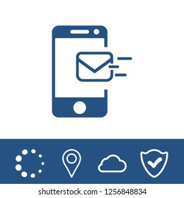 Email message by mobile phone vector icon