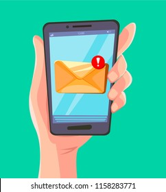 Email message concept. New, incoming message, sms. Hand holding phone, letter. Delivery of messages, sms. Incoming post or notice. Vector illustration.