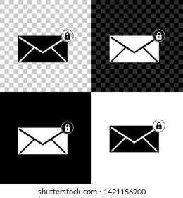 Email message lock password icon isolated on black, white and transparent background. Envelope with padlock sign. Private mail and security, secure, protection, privacy symbol. Vector Illustration