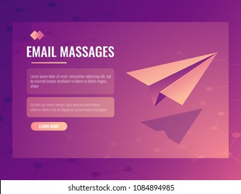 Email and message sending concept, isometric vector paper small aircraft, mailing banner