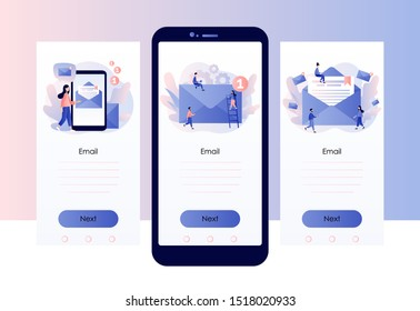 Email and messaging, Email service, Email marketing. Screen template for mobile smart phone. Modern flat cartoon style. Vector illustration