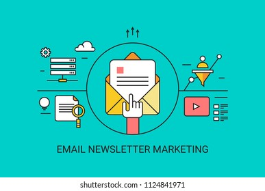 Email newsletter, Opening email, Email marketing content - flat line vector illustration with icons on green background