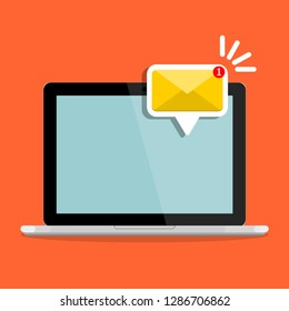 Email notification concept. New message on the laptop, computer screen. Vector illustration in flat style