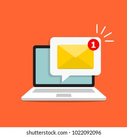 Email notification concept. New email on the laptop screen. Vector illustration in flat style.