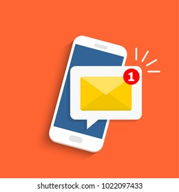 Email notification concept. New email on the smartphone screen. Vector illustration in flat style.