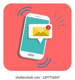 email notification icon. New message on the smartphone screen. Vector illustration.