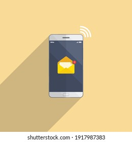 Email Notification on smartphone on yellow background