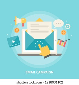 Email on laptop screen, hand opening email, Newsletter marketing flat design vector illustration with icons