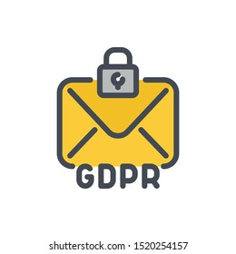 Email online protection color line icon. GDPR with mail and lock vector outline colorful sign.