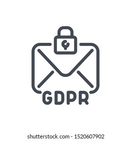 Email online protection line icon. GDPR with mail and lock vector outline sign.