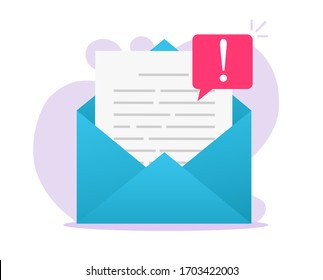 Email online scam malware caution message file notice on electronic document or internet digital new web mail letter and fraud warning alert vector flat, insecure network data phishing risk attachment