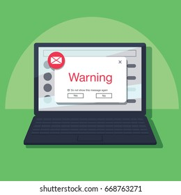 E-mail Popup Warning Window Concept. Block fishing rod come out of notebook screen asking for password. Phishing via internet vector concept illustration. Fishing by email spoofing instant messaging.
