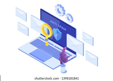 E-mail protection,  anti-malware, anti spam isometric concept. Flat vector illustration