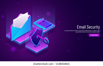 Email Security concept based web template design with illustration of mail envelope and security shield with key. Can be used for website and mobile app.