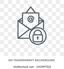 Email security icon. Trendy flat vector Email security icon on transparent background from Internet Security and Networking collection. High quality filled Email security symbol use for web and mobile