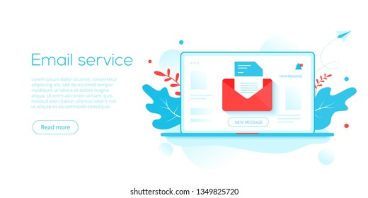 Email service creative flat vector illustration. Electronic mail message concept as part of business  marketing. Webmail or mobile service layout for website landing. Newsletter sending backgro