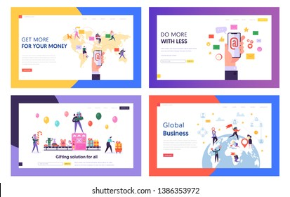 E-mail Service, Global Business, Gifts Purchasing Website Landing Page Templates Set. People Using Electronic Mail, Buying Presents, Expanding Biz Web Page. Cartoon Flat Vector Illustration, Banner