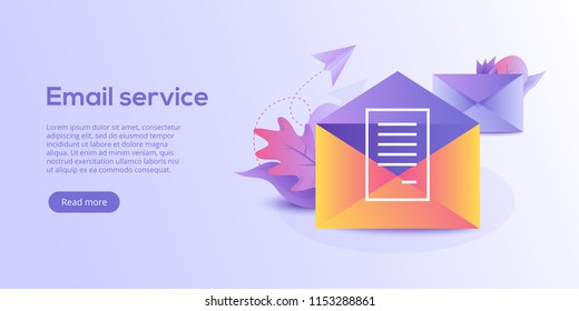 Email service isometric vector illustration. Electronic mail message concept as part of business  marketing. Webmail or mobile service layout for website landing header. Newsletter sending background.