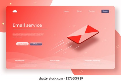 Email service isometric vector. Message icon, email sending concept online advertising. E-mail marketing. Receiving messages. Inbox message. Webmail or mobile service layout for website landing header