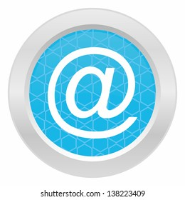 Email sign - Blue button with metallic frame on white background