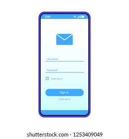 Email sign in smartphone page vector template. Mobile app interface design layout. Mail login, sign up screen. Flat UI application. User registration. Phone display with mailbox password, username