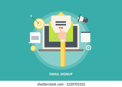Email sign up- Subscription - Newsletter sign up - flat design vector banner with marketing icons