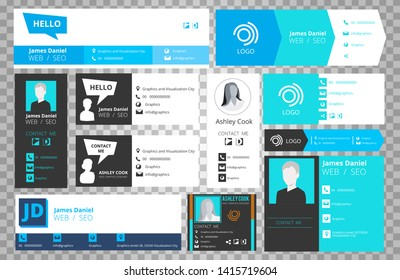 Email signature templates isolated on transparent background. Vector office business visit cards for webmail user interface collection. Illustration of info profile link, information user card