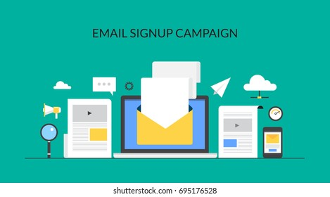 Email signup campaign, newsletter promotion, email marketing, promotional emails, email subscription flat vector banner illustration with icons isolated on green background