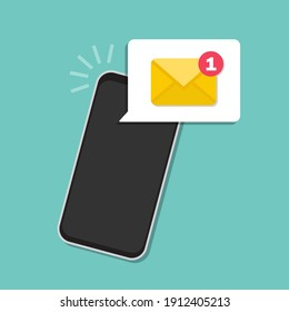 Email smartphone notification in a flat design. Vector illustration