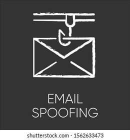 Email spoofing chalk icon. Illegitimate business. Forged sender. Online scam. Spamming. Fake email header. Mail phishing. Cybercrime. Fraudulent scheme. Isolated vector chalkboard illustration