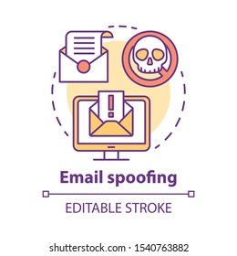 Email spoofing concept icon. Spam and virus protection. Phishing via internet. Hacking victim account. Cybercrime, fraud idea thin line illustration. Vector isolated outline drawing. Editable stroke