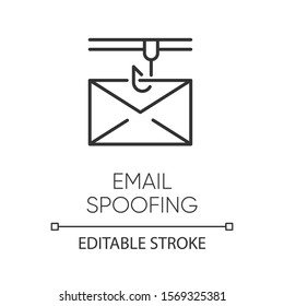 Email spoofing linear icon. Illegitimate business. Forged sender. Spamming. Fake email header. Mail phishing. Thin line illustration. Contour symbol. Vector isolated outline drawing. Editable stroke