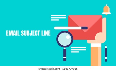 Email subject line, email marketing strategy, email content, hand holding email vector flat concept