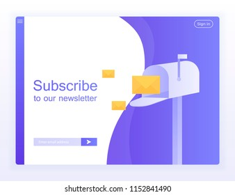 Email subscribe, online newsletter vector template with mailbox and submit button for website. Modern vector illustration.