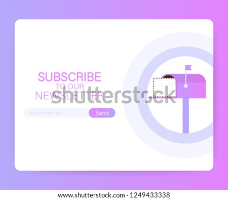 Email Subscribe Online Newsletter Vector Template Stock